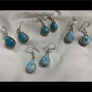 Natural Larimar Earrings 925 Handmade New Gorgeous